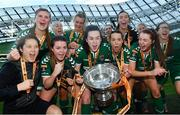5 November 2017; Cork City WFC players celebrate with the cup following the Continental Tyres FAI Women's Cup Final match between Cork City WFC and UCD Waves at the Aviva Stadium in Dublin. Photo by Ramsey Cardy/Sportsfile