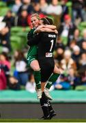 5 November 2017; Danielle Sheehy, left, and Amanda Budden of Cork City WFC celebrate at the final whistle of the Continental Tyres FAI Women's Cup Final match between Cork City WFC and UCD Waves at the Aviva Stadium in Dublin. Photo by Ramsey Cardy/Sportsfile
