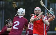 5 November 2017; Con O'Callaghan of Cuala in action against Dicksboro players, from left, Evan Cody, Conor Doheny and Shane Stapleton during the AIB Leinster GAA Hurling Senior Club Championship Quarter-Final match between Cuala and Dicksboro at Parnell Park in Dublin. Photo by Brendan Moran/Sportsfile