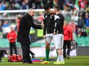 5 November 2017; Cork City manager John Caulfield speaks to Shane Griffin and Steven Beattie prior to the Irish Daily Mail FAI Senior Cup Final match between Cork City and Dundalk at Aviva Stadium in Dublin. Photo by Eóin Noonan/Sportsfile