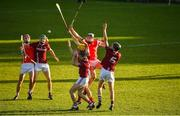 5 November 2017; Cuala players from left, John Sheanon, Cian Waldron and Jake Malone contest a dropping ball with Dicksboro players, from left, Shane Stapleton, Evan Cody and Thomas Kenny during the AIB Leinster GAA Hurling Senior Club Championship Quarter-Final match between Cuala and Dicksboro at Parnell Park in Dublin. Photo by Brendan Moran/Sportsfile