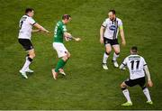 5 November 2017; Karl Sheppard of Cork City in action against, from left, Brian Gartland, Stephen O'Donnell and Patrick McEleney of Dundalk during the Irish Daily Mail FAI Senior Cup Final match between Cork City and Dundalk at Aviva Stadium in Dublin. Photo by Sam Barnes/Sportsfile