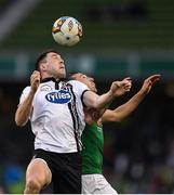 5 November 2017; Brian Gartland of Dundalk in action against Karl Sheppard of Cork City during the Irish Daily Mail FAI Senior Cup Final match between Cork City and Dundalk at Aviva Stadium in Dublin. Photo by Eóin Noonan/Sportsfile