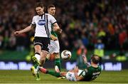 5 November 2017; Karl Sheppard of Cork City in action against Niclas Vemmelund of Dundalk during the Irish Daily Mail FAI Senior Cup Final match between Cork City and Dundalk at Aviva Stadium in Dublin. Photo by Eóin Noonan/Sportsfile