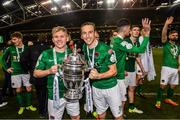 5 November 2017; Cork City's Conor McCormack, left, and Karl Sheppard celebrates following the Irish Daily Mail FAI Senior Cup Final match between Cork City and Dundalk at the Aviva Stadium in Dublin. Photo by Ramsey Cardy/Sportsfile