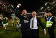 5 November 2017; Cork City manager John Caulfield and Mark McNulty celebrates following the Irish Daily Mail FAI Senior Cup Final match between Cork City and Dundalk at the Aviva Stadium in Dublin. Photo by Ramsey Cardy/Sportsfile