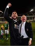 5 November 2017; Cork City manager John Caulfield and Mark McNulty celebrate following the Irish Daily Mail FAI Senior Cup Final match between Cork City and Dundalk at the Aviva Stadium in Dublin. Photo by Ramsey Cardy/Sportsfile