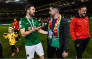 5 November 2017; Cork City's Gearóid Morrissey in conversation with Former Cork City player Sean Maguire following the Irish Daily Mail FAI Senior Cup Final match between Cork City and Dundalk at the Aviva Stadium in Dublin. Photo by Ramsey Cardy/Sportsfile