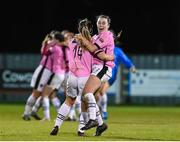 4 November 2017; Wexford Youths players Emma Hansberry, left, and Orlaith Conlon celebrate after the Continental Tyres Women's National League match between Wexford Youths and Peamount United at Ferrycarrig Park in Wexford. Photo by Matt Browne/Sportsfile