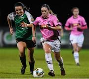 4 November 2017; Emma Hansberry of Wexford Youths in action against Niamh Farrelly of Peamount United during the Continental Tyres Women's National League match between Wexford Youths and Peamount United at Ferrycarrig Park in Wexford. Photo by Matt Browne/Sportsfile