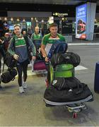 6 November 2017; Eoin Cadogan and Niall Sludden, left, as the 2017 Ireland International Rules Squad arrive in Melbourne at Melbourne Airport, in Australia. Photo by Ray McManus/Sportsfile