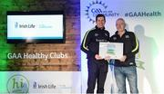 4 November 2017; Jim McCarthy, representing St John's Volunteers GAA, Co Wexford, is presented with the Official Healthy Club Award by Seán Cavanagh, Healthy Clubs Ambassador and former Tyrone Footballer. The special ceremony held in Croke Park saw 58 GAA clubs recognised as the first official 'Healthy Clubs' on the island of Ireland. The GAA's Healthy Clubs Project hopes to transform GAA clubs nationally into hubs for community health and wellbeing. As part of the programme, each club is trained to deliver advice and information programmes on a variety of different topics including, physical activity; emotional wellbeing; healthy eating; community development, to name but a few. For more information, visit: www.gaa.ie/community. Croke Park, Dublin. Photo by Piaras Ó Mídheach/Sportsfile