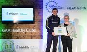 4 November 2017; Caroline Kavanagh, representing Castletown Liam Mellows GAA, Co Wexford, is presented with the Official Healthy Club Award by Seán Cavanagh, Healthy Clubs Ambassador and former Tyrone Footballer. The special ceremony held in Croke Park saw 58 GAA clubs recognised as the first official 'Healthy Clubs' on the island of Ireland. The GAA's Healthy Clubs Project hopes to transform GAA clubs nationally into hubs for community health and wellbeing. As part of the programme, each club is trained to deliver advice and information programmes on a variety of different topics including, physical activity; emotional wellbeing; healthy eating; community development, to name but a few. For more information, visit: www.gaa.ie/community. Croke Park, Dublin. Photo by Piaras Ó Mídheach/Sportsfile
