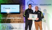 4 November 2017; Nigel Hogan, representing St Loman's GAA, Co Westmeath, is presented with the Official Healthy Club Award by Seán Cavanagh, Healthy Clubs Ambassador and former Tyrone Footballer. The special ceremony held in Croke Park saw 58 GAA clubs recognised as the first official 'Healthy Clubs' on the island of Ireland. The GAA's Healthy Clubs Project hopes to transform GAA clubs nationally into hubs for community health and wellbeing. As part of the programme, each club is trained to deliver advice and information programmes on a variety of different topics including, physical activity; emotional wellbeing; healthy eating; community development, to name but a few. For more information, visit: www.gaa.ie/community. Croke Park, Dublin. Photo by Piaras Ó Mídheach/Sportsfile