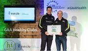 4 November 2017; Chris Daly, representing Tubber GAA, Co Offaly, is presented with the Official Healthy Club Award by Seán Cavanagh, Healthy Clubs Ambassador and former Tyrone Footballer. The special ceremony held in Croke Park saw 58 GAA clubs recognised as the first official 'Healthy Clubs' on the island of Ireland. The GAA's Healthy Clubs Project hopes to transform GAA clubs nationally into hubs for community health and wellbeing. As part of the programme, each club is trained to deliver advice and information programmes on a variety of different topics including, physical activity; emotional wellbeing; healthy eating; community development, to name but a few. For more information, visit: www.gaa.ie/community. Croke Park, Dublin. Photo by Piaras Ó Mídheach/Sportsfile