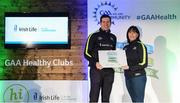 4 November 2017; Paula Johnson, representing St Kevin's GAA, Co Louth, is presented with the Official Healthy Club Award by Seán Cavanagh, Healthy Clubs Ambassador and former Tyrone Footballer. The special ceremony held in Croke Park saw 58 GAA clubs recognised as the first official 'Healthy Clubs' on the island of Ireland. The GAA's Healthy Clubs Project hopes to transform GAA clubs nationally into hubs for community health and wellbeing. As part of the programme, each club is trained to deliver advice and information programmes on a variety of different topics including, physical activity; emotional wellbeing; healthy eating; community development, to name but a few. For more information, visit: www.gaa.ie/community. Croke Park, Dublin. Photo by Piaras Ó Mídheach/Sportsfile
