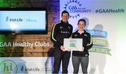 4 November 2017; Jane Donnelly, representing Kiltale Hurling & Camogie Club, Co Meath, is presented with the Official Healthy Club Award by Seán Cavanagh, Healthy Clubs Ambassador and former Tyrone Footballer. The special ceremony held in Croke Park saw 58 GAA clubs recognised as the first official 'Healthy Clubs' on the island of Ireland. The GAA's Healthy Clubs Project hopes to transform GAA clubs nationally into hubs for community health and wellbeing. As part of the programme, each club is trained to deliver advice and information programmes on a variety of different topics including, physical activity; emotional wellbeing; healthy eating; community development, to name but a few. For more information, visit: www.gaa.ie/community. Croke Park, Dublin. Photo by Piaras Ó Mídheach/Sportsfile