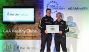 4 November 2017; Pat Kelly, representing St Colmcille's GAA, Co Meath, is presented with the Official Healthy Club Award by Seán Cavanagh, Healthy Clubs Ambassador and former Tyrone Footballer. The special ceremony held in Croke Park saw 58 GAA clubs recognised as the first official 'Healthy Clubs' on the island of Ireland. The GAA's Healthy Clubs Project hopes to transform GAA clubs nationally into hubs for community health and wellbeing. As part of the programme, each club is trained to deliver advice and information programmes on a variety of different topics including, physical activity; emotional wellbeing; healthy eating; community development, to name but a few. For more information, visit: www.gaa.ie/community. Croke Park, Dublin. Photo by Piaras Ó Mídheach/Sportsfile