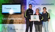 4 November 2017; Carmel Brennan, centre, and Caroline Clifford, representing Clara, Co Kilkenny with their Official Healthy Club Awards alongside Seán Cavanagh, Healthy Clubs Ambassador and former Tyrone Footballer. The special ceremony held in Croke Park saw 58 GAA clubs recognised as the first official 'Healthy Clubs' on the island of Ireland. The GAA's Healthy Clubs Project hopes to transform GAA clubs nationally into hubs for community health and wellbeing. As part of the programme, each club is trained to deliver advice and information programmes on a variety of different topics including, physical activity; emotional wellbeing; healthy eating; community development, to name but a few. For more information, visit: www.gaa.ie/community. Croke Park, Dublin. Photo by Piaras Ó Mídheach/Sportsfile