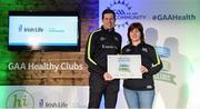 4 November 2017; Elaine Kavanagh, representing Mount Leinster Rangers GAA Club, Co Carlow, is presented with the Official Healthy Club Award by Seán Cavanagh, Healthy Clubs Ambassador and former Tyrone Footballer. The special ceremony held in Croke Park saw 58 GAA clubs recognised as the first official 'Healthy Clubs' on the island of Ireland. The GAA's Healthy Clubs Project hopes to transform GAA clubs nationally into hubs for community health and wellbeing. As part of the programme, each club is trained to deliver advice and information programmes on a variety of different topics including, physical activity; emotional wellbeing; healthy eating; community development, to name but a few. For more information, visit: www.gaa.ie/community. Croke Park, Dublin. Photo by Piaras Ó Mídheach/Sportsfile