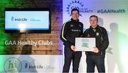 4 November 2017; Damian Groarke, representing Castlemitchell, Co Kildare, is presented with the Official Healthy Club Award by Seán Cavanagh, Healthy Clubs Ambassador and former Tyrone Footballer. The special ceremony held in Croke Park saw 58 GAA clubs recognised as the first official 'Healthy Clubs' on the island of Ireland. The GAA's Healthy Clubs Project hopes to transform GAA clubs nationally into hubs for community health and wellbeing. As part of the programme, each club is trained to deliver advice and information programmes on a variety of different topics including, physical activity; emotional wellbeing; healthy eating; community development, to name but a few. For more information, visit: www.gaa.ie/community. Croke Park, Dublin. Photo by Piaras Ó Mídheach/Sportsfile