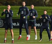 8 November 2017; Team- mates, from left, David Meyler, Shane Duffy, Ciaran Clark and Matt Doherty during Republic of Ireland squad training at FAI National Training Centre in Abbotstown, Dublin. Photo by Matt Browne/Sportsfile