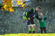 9 November 2017; Peter O'Mahony has a selfie taken with supporter Jennifer Malone, from Kildare, before Ireland rugby squad training at Carton House in Maynooth, Kildare. Photo by Brendan Moran/Sportsfile