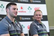 9 November 2017; Robbie Henshaw with head coach Joe Schmidt during Ireland squad press Conference at Carton House in Maynooth, Kildare. Photo by Matt Browne/Sportsfile