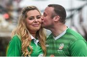 10 November 2017; Republic of Ireland supporters Aaron O'Neill, from Portadown, Co Armagh and Rebecca Walsh, from Cork City, in Copenhagen ahead of the FIFA 2018 World Cup Qualifier Play-off 1st leg against Denmark on Saturday. Photo by Ramsey Cardy/Sportsfile