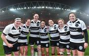 10 November 2017; Players, from left, Ailis Egan, Nora Stapleton, Marie Louise O'Reilly, Tania Rosser, Jackie Shiels, Edel McMahon and team captain Fiona Coghlan of Ireland and Barbarians after the Women's Representative Match match between Munster and Barbarians RFC at Thomond Park in Limerick. Photo by Matt Browne/Sportsfile