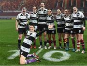 10 November 2017; Christelle LeDuff of France and the Barbarians celebrates infront of players, from left, Ailis Egan, Nora Stapleton, Marie Louise O'Reilly, Tania Rosser, Jackie Shiels, Edel McMahon and team captain Fiona Coghlan of Ireland and Barbarians after the Women's Representative Match match between Munster and Barbarians RFC at Thomond Park in Limerick. Photo by Matt Browne/Sportsfile