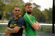 11 November 2017; The Eirgrid Ireland team captain Aidan O'Shea with the Cormac McAnallen Cup and the Australian captain Shaun Burgoyne during the Australia v Ireland - Virgin Australia International Rules Series 1st Test pre match photocall on the pedestrian bridge outside the Adelaide Oval in Adelaide, Australia. Photo by Ray McManus/Sportsfile