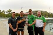 11 November 2017; The Eirgrid Ireland team manager Joe Kernan, right, and captain Aidan O'Shea with the Cormac McAnallen Cup and the Australian manager Chris Scott, left, and captain Shaun Burgoyne during the Australia v Ireland - Virgin Australia International Rules Series 1st Test pre match photocall on the Torrens River Footbridge outside the Adelaide Oval in Adelaide, Australia. Photo by Ray McManus/Sportsfile