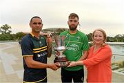 11 November 2017; Rosemary Steen, Director of External Affairs, EirGrid Group with the Ireland team captain Aidan O'Shea, the Australian captain Shaun Burgoyne and the Cormac McAnallen Cup during the Australia v Ireland - Virgin Australia International Rules Series 1st Test pre match photocall on the pedestrian bridge outside the Adelaide Oval in Adelaide, Australia. Photo by Ray McManus/Sportsfile