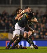 11 November 2017; Jonathan Sexton of Ireland is tackled by Siya Kolisi and Eben Etzebeth of South Africa during the Guinness Series International match between Ireland and South Africa at the Aviva Stadium in Dublin. Photo by Eóin Noonan/Sportsfile