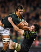 11 November 2017; Eben Etzebeth of South Africa is tackled by Peter O'Mahony of Ireland during the Guinness Series International match between Ireland and South Africa at the Aviva Stadium in Dublin. Photo by Eóin Noonan/Sportsfile