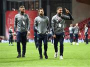 11 November 2017; Republic of Ireland players, from left, Daryl Murphy, Wes Hoolahan, and Robbie Brady prior to the FIFA 2018 World Cup Qualifier Play-off 1st Leg match between Denmark and Republic of Ireland at Parken Stadium in Copenhagen, Denmark. Photo by Stephen McCarthy/Sportsfile