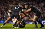 11 November 2017; Eben Etzebeth of South Africa is tackled by Bundee Aki, left and Iain Henderson of Ireland during the Guinness Series International match between Ireland and South Africa at the Aviva Stadium in Dublin. Photo by Eóin Noonan/Sportsfile