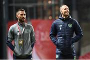 11 November 2017; Republic of Ireland players Conor Hourihane, left, and  David Meyler prior to the FIFA 2018 World Cup Qualifier Play-off 1st Leg match between Denmark and Republic of Ireland at Parken Stadium in Copenhagen, Denmark. Photo by Stephen McCarthy/Sportsfile