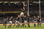 11 November 2017; Peter O'Mahony of Ireland claims the lineout ahead of Lood de Jager of South Africa during the Guinness Series International match between Ireland and South Africa at the Aviva Stadium in Dublin. Photo by Matt Browne/Sportsfile