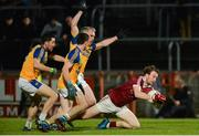 11 November 2017; Padraig Cassidy of Slaughtneil in action against Conor Doherty, Conor McShane and Mark McHugh of Kilcar during the AIB Ulster GAA Football Senior Club Championship Semi-Final match between Kilcar and Slaughtneil at Healy Park in Omagh, Tyrone. Photo by Oliver McVeigh/Sportsfile