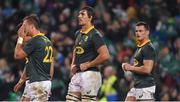 11 November 2017; South Africa players, from left, Handré Pollard, Eben Etzebeth, and Jesse Kriel after the Guinness Series International match between Ireland and South Africa at the Aviva Stadium in Dublin. Photo by Brendan Moran/Sportsfile