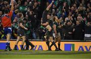 11 November 2017; Jacob Stockdale of Ireland is congrautulated by teammate Sean O'Brien after he scored his side's fourth try during the Guinness Series International match between Ireland and South Africa at the Aviva Stadium in Dublin. Photo by Eóin Noonan/Sportsfile