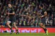 11 November 2017; Robbie Henshaw, left, and Bundee Aki of Ireland during the Guinness Series International match between Ireland and South Africa at the Aviva Stadium in Dublin. Photo by Brendan Moran/Sportsfile
