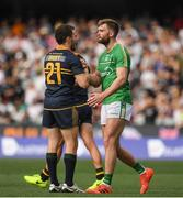 12 November 2017; Luke Sheuey of Australia and Aidan O Shea of Ireland greet each other after the Virgin Australia International Rules Series 1st test at the Adelaide Oval in Adelaide, Australia. Photo by Ray McManus/Sportsfile