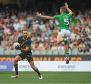 12 November 2017; Killian Clarke of Ireland tries to block a shot by Eddie Betts of Australia during the Virgin Australia International Rules Series 1st test at the Adelaide Oval in Adelaide, Australia. Photo by Ray McManus/Sportsfile