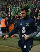 11 November 2017; Shane Long of Republic of Ireland ahead of the FIFA 2018 World Cup Qualifier Play-off 1st Leg match between Denmark and Republic of Ireland at Parken Stadium in Copenhagen, Denmark. Photo by Ramsey Cardy/Sportsfile