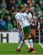 11 November 2017; Daryl Murphy of Republic of Ireland is substituted for Shane Long during the FIFA 2018 World Cup Qualifier Play-off 1st Leg match between Denmark and Republic of Ireland at Parken Stadium in Copenhagen, Denmark. Photo by Ramsey Cardy/Sportsfile