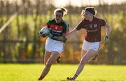 12 November 2017; Annie Duffy of Mayo in action against Meghan Kelly of Galway during the All Ireland U21 Ladies Football Final match between Mayo and Galway at St. Croans GAA Club in Keelty, Roscommon. Photo by Sam Barnes/Sportsfile