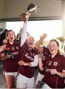 12 November 2017; Megan Glynn of Galway, centre, lifts the Aisling McGing Memorial Cup, with Chelsey Blade, left, and Ciara Lynch following the All Ireland U21 Ladies Football Final match between Mayo and Galway at St. Croans GAA Club in Keelty, Roscommon. Photo by Sam Barnes/Sportsfile